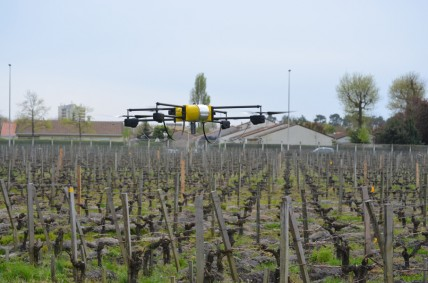 A drone demonstration at Bernard Magrez's Chateau Pape Clement in April this year