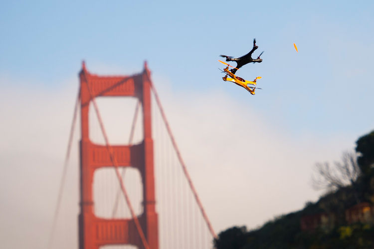 Drones fly during a demonstration in Sausalito, Calif., on June 9, 2014. Photographer: David Paul Morris/Bloomberg